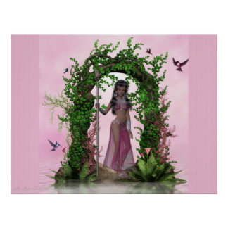 Beautiful Pink Elf under Archway Poster Print