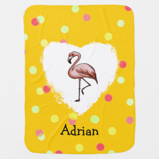 beautiful pink flamingo love swaddle blanket