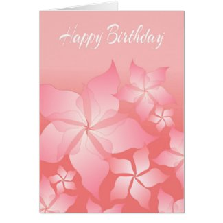 Beautiful Pink Floral Abstract Birthday Card Greeting Cards