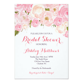 Beautiful Pink Floral Baby Shower Invitation, Baby Card
