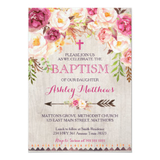 Beautiful Pink Floral BAPTISM Invitation