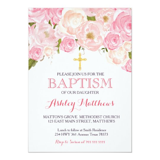 Beautiful Pink Floral BAPTISM Invitation Zazzlecom
