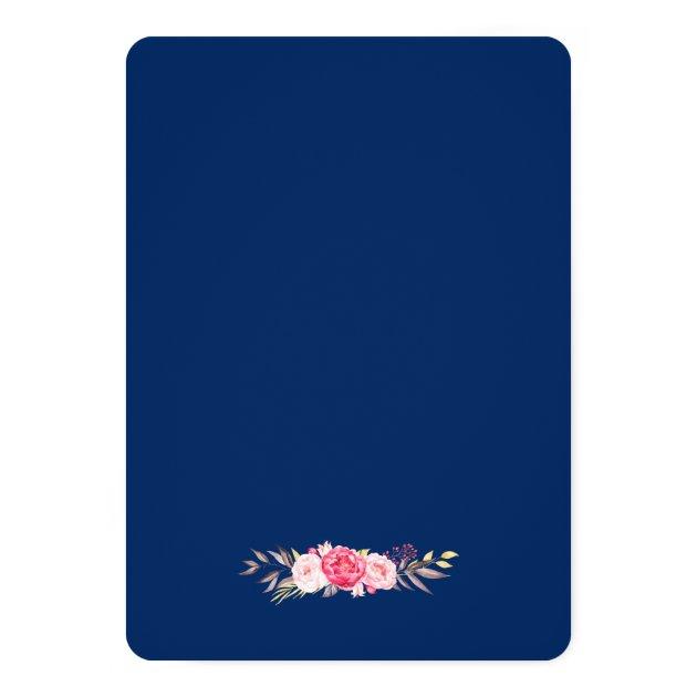 Beautiful Pink Floral Botanical Bridal Shower Card (back side)
