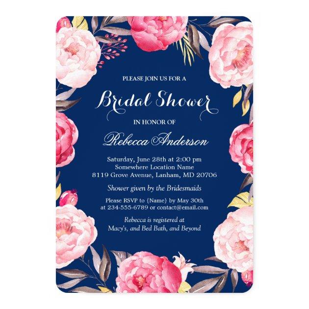 Beautiful Pink Fl Botanical Bridal Shower Card