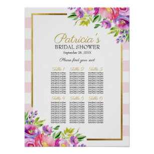 beautiful pink floral bridal shower seating chart