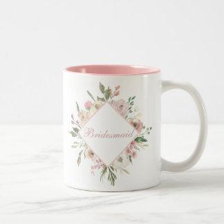 Beautiful Pink Floral Bridesmaid Two-Tone Coffee Mug