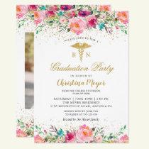 Beautiful Pink Floral Nurse Photo Graduation Party Invitation