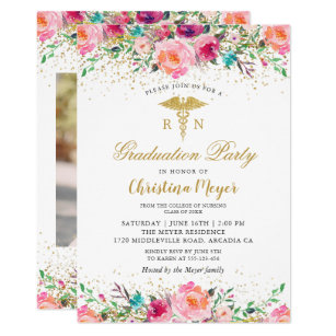 Beautiful Pink Floral Nurse Photo Graduation Party Invitation