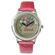 Beautiful Pink floral personalized design Wristwatch