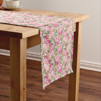 beautiful pink floral roses dining table runner