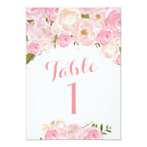 Beautiful Pink Floral Table Numbers