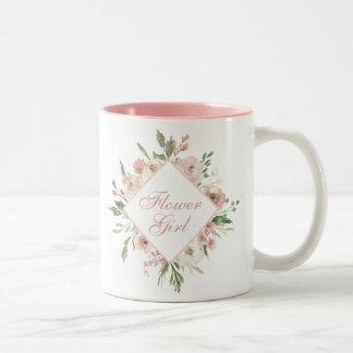 Beautiful Pink Flower Girl Two-Tone Coffee Mug