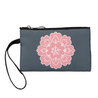Beautiful Pink Flower Grey Customized clutch