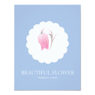 BEAUTIFUL, PINK FLOWER IN FRONT OF A CLOUD 4.25X5.5 PAPER INVITATION CARD