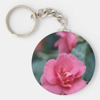 Beautiful Pink Flower Basic Round Button Keychain