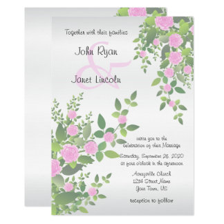 Beautiful Pink Flower Wedding Invitations