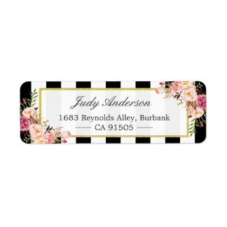 Beautiful Pink Flowers Classic Black White Stripes Label