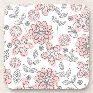 Beautiful Pink Flowers Beverage Coasters