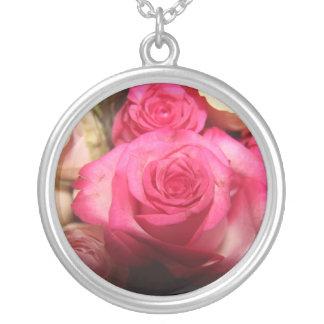 Beautiful pink flowers custom necklace