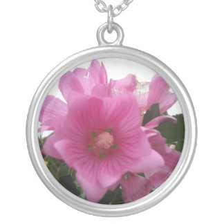 Beautiful Pink Flowers on necklace. Round Pendant Necklace