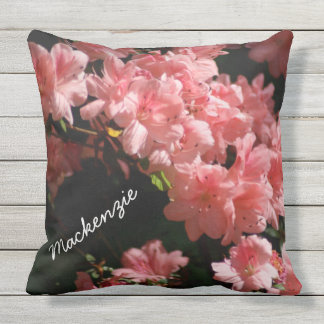 Beautiful Pink Flowers Personalized Outdoor Pillow