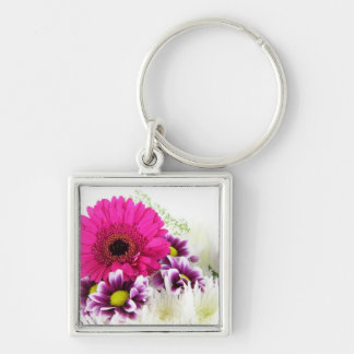 Beautiful Pink Gerbera Silver-Colored Square Keychain