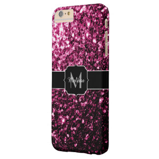 Beautiful Pink glitter sparkles Monogram Barely There iPhone 6 Plus Case