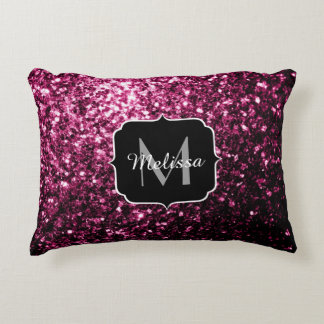 Beautiful Pink glitter sparkles Monogram Accent Pillow