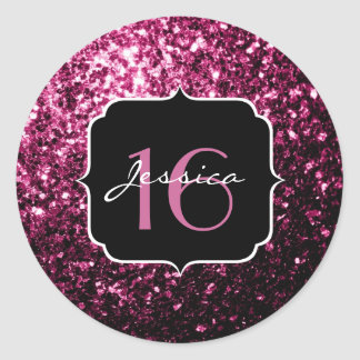 Beautiful Pink glitter sparkles Sweet 16 Classic Round Sticker