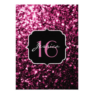 Beautiful Pink glitter sparkles Sweet 16 Personalized Invitations