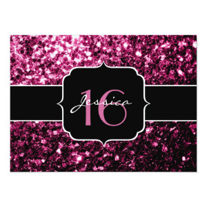 Beautiful Pink glitter sparkles Sweet 16 5.5x7.5 Paper Invitation Card
