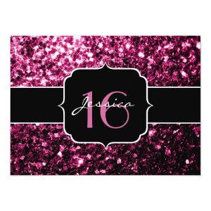 Beautiful Pink glitter sparkles Sweet 16 5.5x7.5 Paper Invitation Card