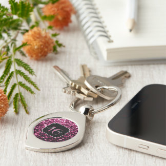Beautiful Pink glitter sparkles Sweet 16 keychain