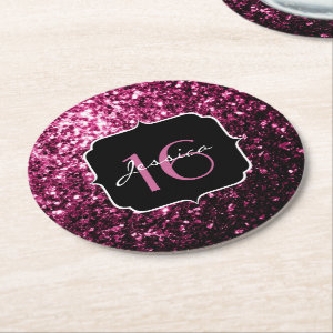 Beautiful Pink glitter sparkles  Round Paper Coaster