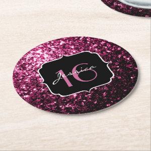 Beautiful Pink glitter sparkles  Round Paper Coaster