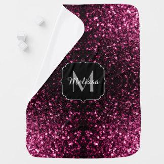 Beautiful Pink glitter sparkles v4 Monogram Receiving Blanket