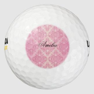 Beautiful,pink,gold,damask,vintage,antique,elegant Pack Of Golf Balls