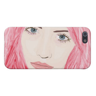 Beautiful Pink Haired Girl, Vector Art Portrait Cover For iPhone 5