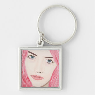 Beautiful Pink Haired Girl, Vector Art Portrait Silver-Colored Square Keychain