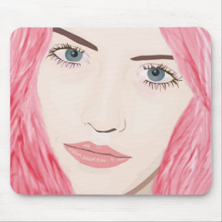 Beautiful Pink Haired Girl, Vector Art Portrait Mouse Pad