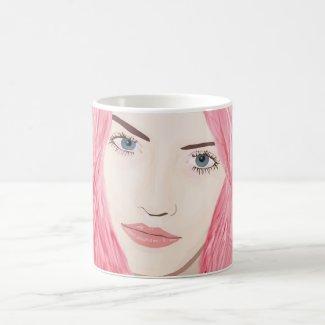 Beautiful Pink Haired Girl, Vector Art Portrait Mugs