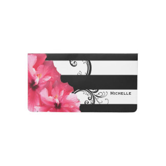 Beautiful Pink Hibiscus on Black & White Stripes Checkbook Cover