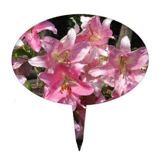 Beautiful Pink Lilies Cake Topper