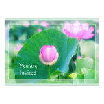 Beautiful Pink Lotus Bud Flower Green Leaf Blossom 5x7 Paper Invitation Card