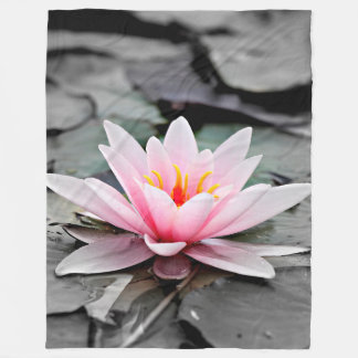 Beautiful Pink Lotus Flower Waterlily Zen Art Fleece Blanket