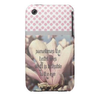 Beautiful Pink Magnolia Love Quote Case-Mate iPhone 3 Cases