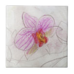 beautiful pink orchid drawing ceramic tile