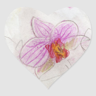 beautiful pink orchid drawing heart sticker