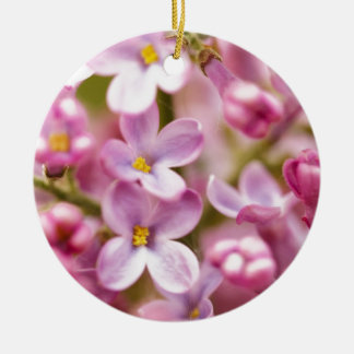 Beautiful Pink Orchid Flowers Double-Sided Ceramic Round Christmas Ornament