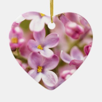 Beautiful Pink Orchid Flowers Double-Sided Heart Ceramic Christmas Ornament